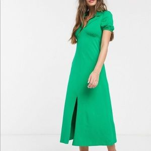 Asos Green Collared Midi Dress Size 6